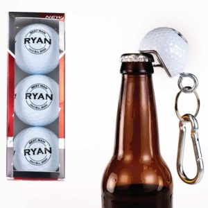 Set of 3 Personalized Groomsmen Golf Balls with 1 BeerWedge Bottle Opener