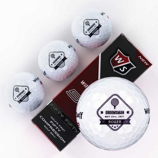 Sleeve of 3 custom groomsmen golf balls (Diamond Design)