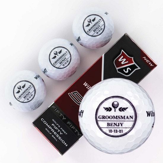 Sleeve of 3 custom groomsmen golf balls (FleurDeLis Design)