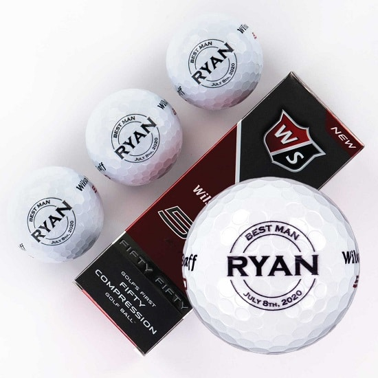 Sleeve of 3 custom groomsmen golf balls (Round Design)
