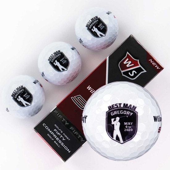 Sleeve of 3 custom groomsmen golf balls (Shield Design)