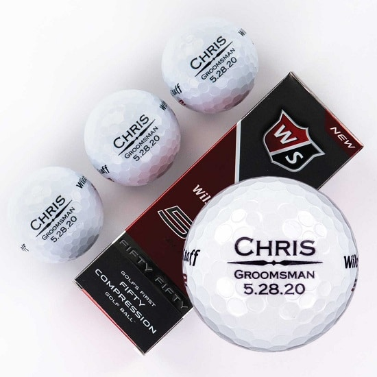 Sleeve of 3 custom groomsmen golf balls ( Straight Line Design)