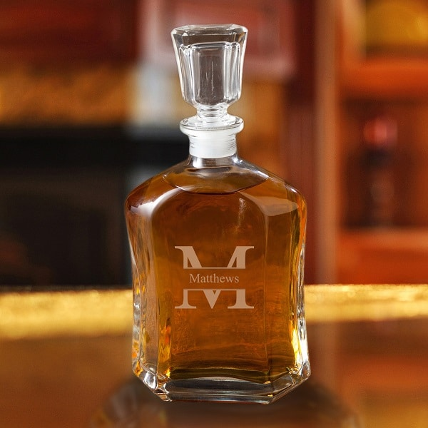 Personalized Perfect Pour 23oz. Glass Whiskey Decanter - Monogram Design
