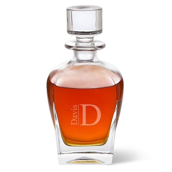 Personalized Antique 24oz. Glass Whiskey Decanter - Modern Monogram