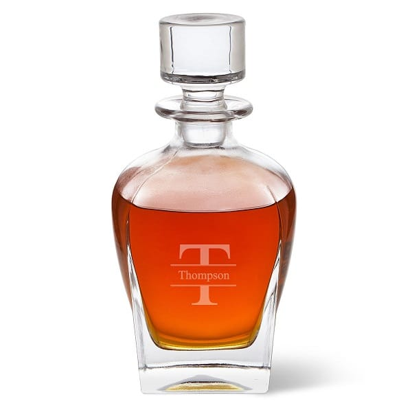 Personalized Antique 24oz. Glass Whiskey Decanter - Stamped Monogram