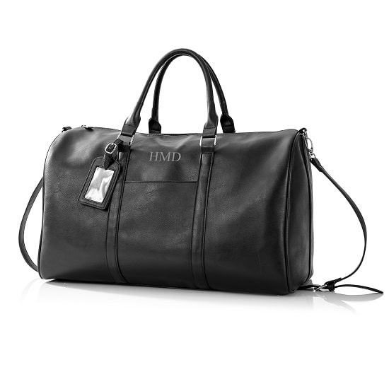 Personalized Black Leather Transport Duffle Bag - Front View