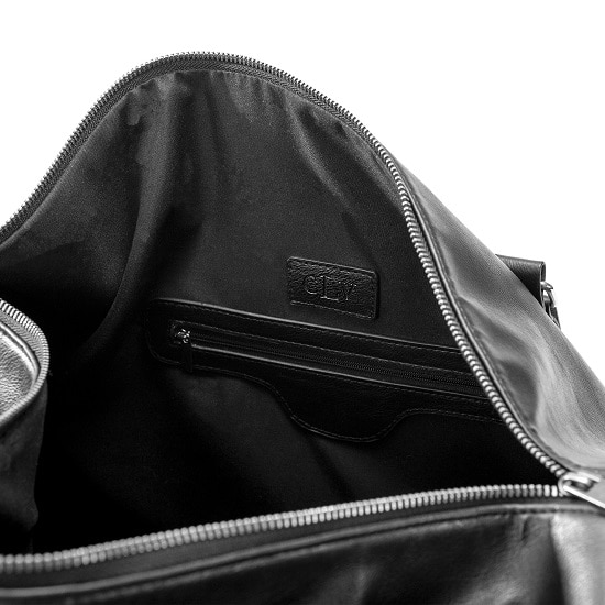 Personalized Black Leather Transport Duffle Bag - Interior View