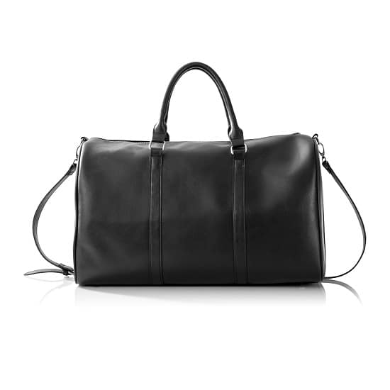 Personalized Black Leather Transport Duffle Bag - Rear View