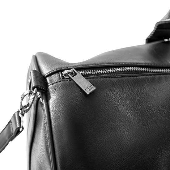 Personalized Black Leather Transport Duffle Bag - Zipper close-up
