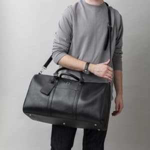 Personalized Black Leather Transport Duffle Bag