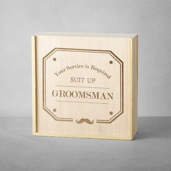 """""""Your Service is Required"""" Wood Groomsman Gift Box"""