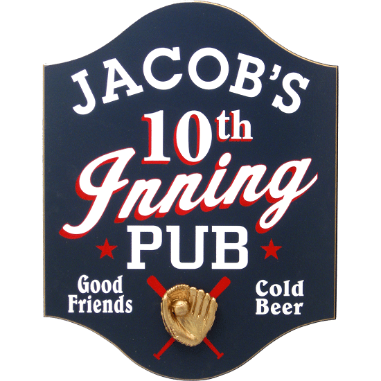 Personalized 10th Inning Baseball Premium Wood Bar Sign