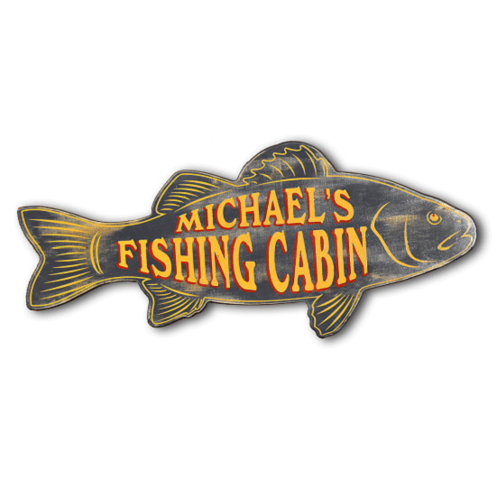 Personalized Fishing Cabin Fish-Shaped Premium Wood Wall Sign