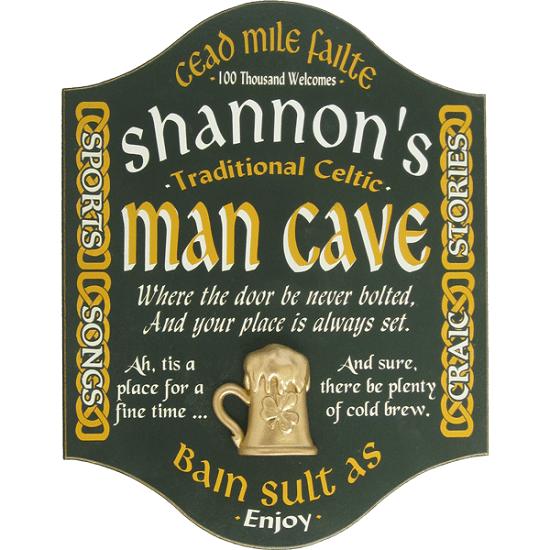 Personalized Irish Man Cave Premium Wood Pub Sign