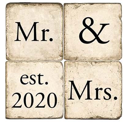 Personalized Mr. & Mrs. 4pc. Marble Coaster Set (with Display Stand)