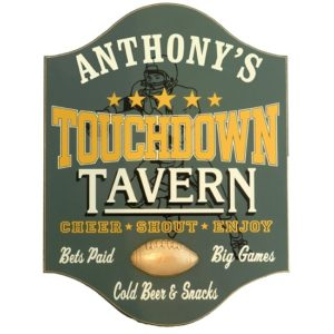 Personalized Touchdown Tavern Premium Wood Bar Sign