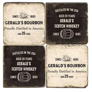 Personalized Whiskey Distiller 4pc. Marble Coaster Set (with Display Stand)