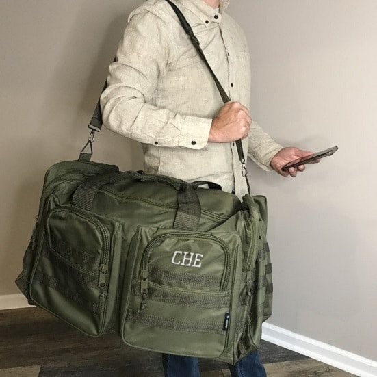 XL green military-inspired duffle bag for men