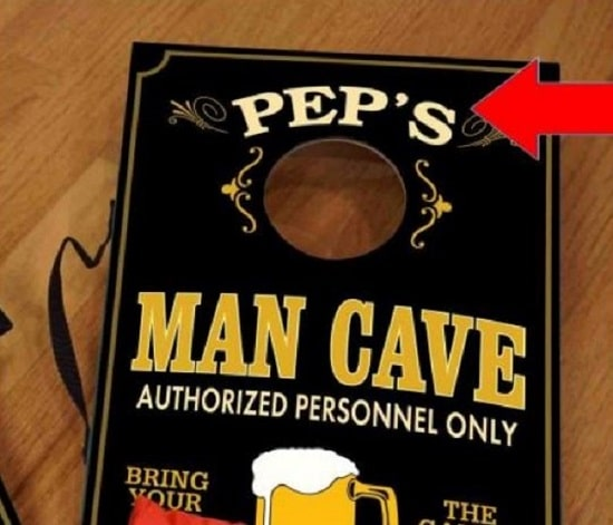 We'll personalize your mini man cave cornhole set with a name for no additional cost.