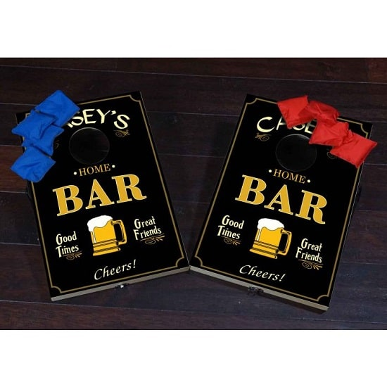 Each home bar mini cornhole game includes two boards and 8 total bags.
