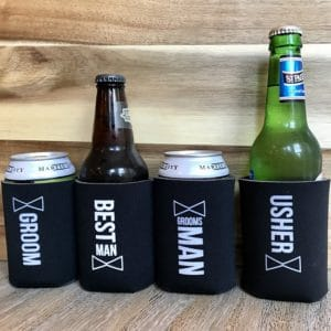 Inexpensive Foam Wedding Koozies for the Groom and Groomsmen