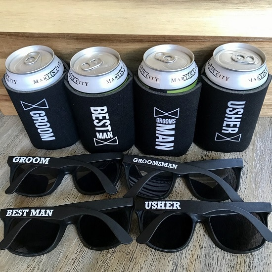 Locked and Loaded Gift Set. Wedding day sunglasses and koozies for the groom crew