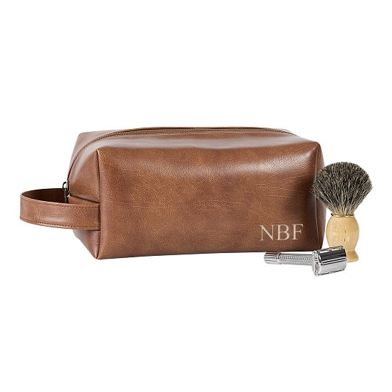 Personalized Brown Leather Travel Dopp Kit - 5102