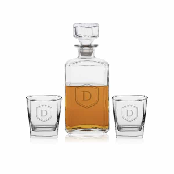 Personalized Square Whiskey Decanter Set with 2 Lowball Glasses