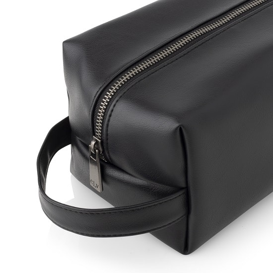 The 5102BK black dopp kit features sleek black zipper and metal accents
