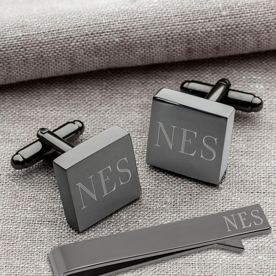 Personalized Gunmetal Square Cufflinks and Tie Clip Set