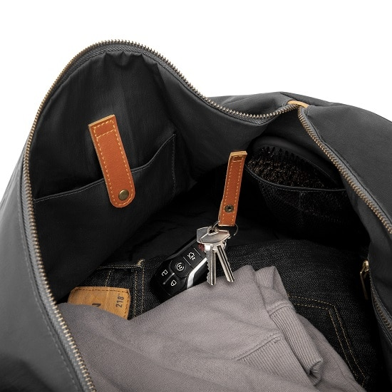 Leather accents inside 2536BK Black Duffle Bag