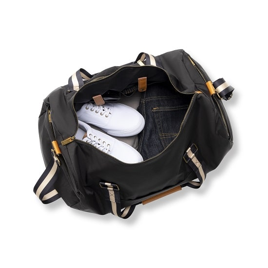 White shoes and jeans packed up in 2536BK Personalized Nylon Black Duffle Bag