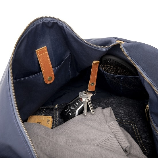 Leather accents inside 2536N Navy Blue Duffle Bag