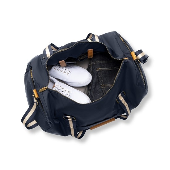 White shoes and jeans packed up in 2536N Personalized Nylon Navy Blue Duffle Bag