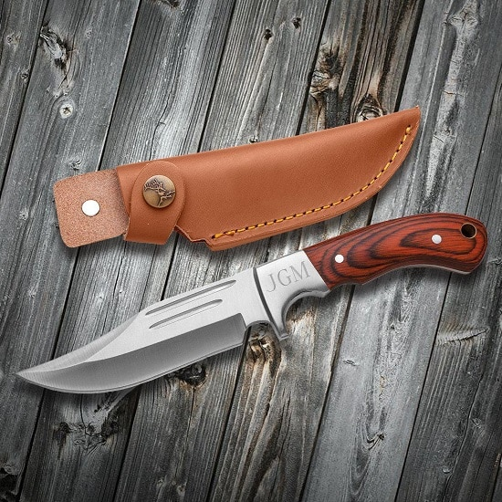 Personalized Saw Mountain Wood Handle Hunting Knife