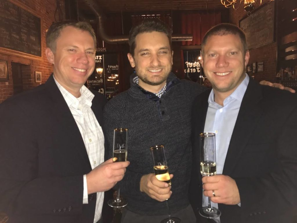 Our founders celebrating the 10 year anniversary of The Man Registry's launch. From left to right: Jimmy Horner, Chris Easter, Bobby Horner. (March 15, 2018)
