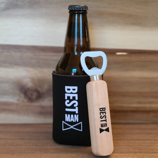 Best Man Wooden Bottle Opener and Koozie Set