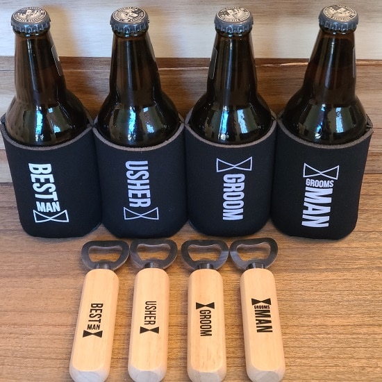 Brew Boys Groom Crew Gift Set (Wooden Bottle Opener and Koozie)