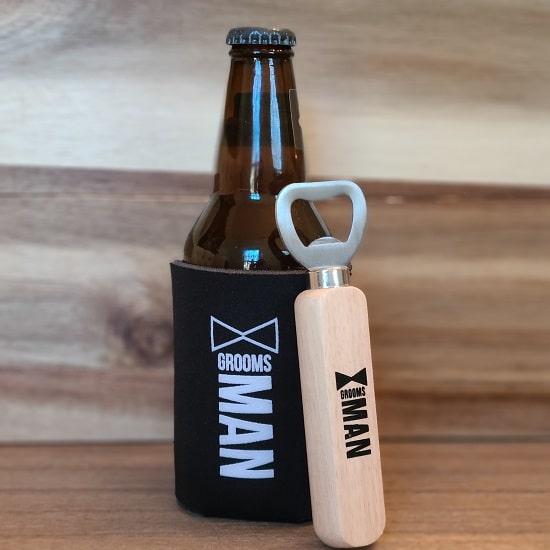 Groomsman Wooden Bottle Opener and Koozie Set