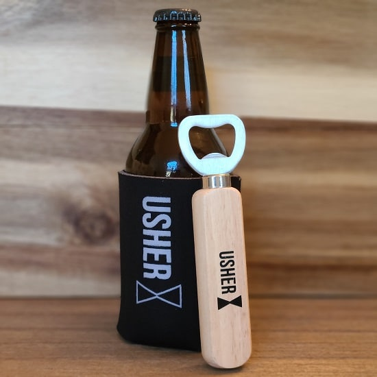 Usher Wooden Bottle Opener and Koozie Set