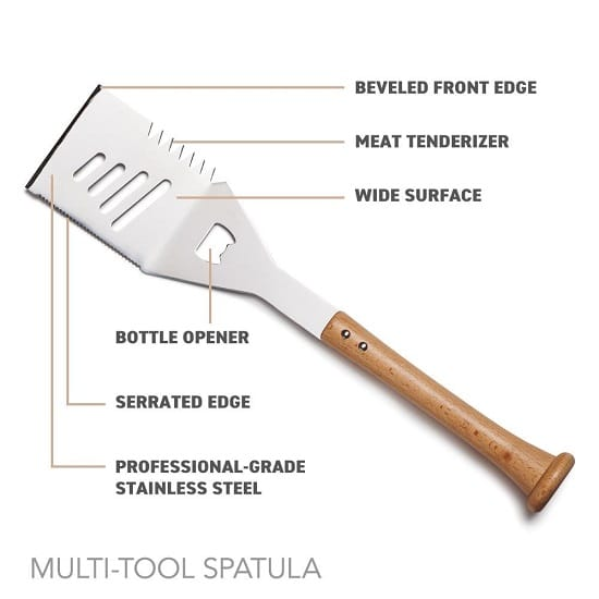 All of the features of the Baseball BBQ Slider Spatula