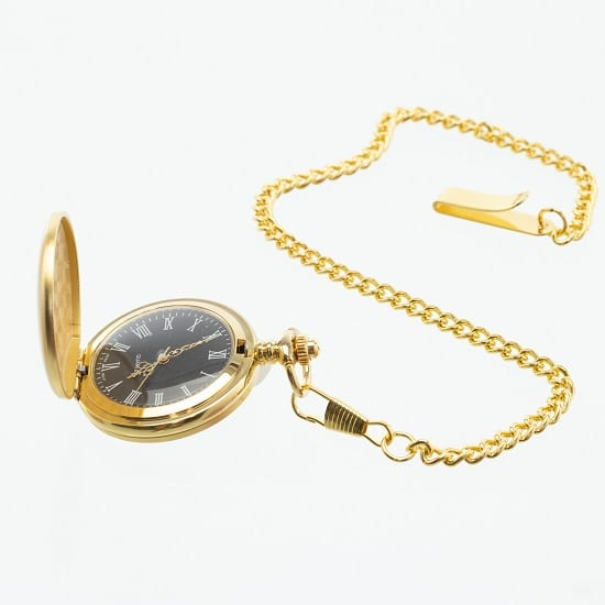 Inside and face of The Man Registry's Personalized Vintage Gold Men's Pocket Watch