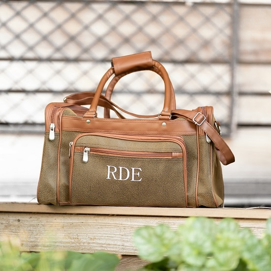 Personalized Men's Angola & Leather One-Nighter Travel Bag for Groomsmen