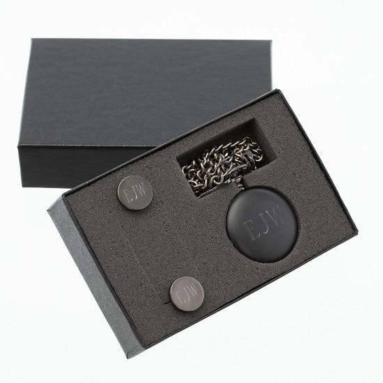 Personalized Pocket Watch & Cufflinks Groomsman Gift Set