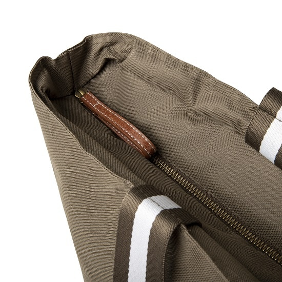 Leather accented zippers.