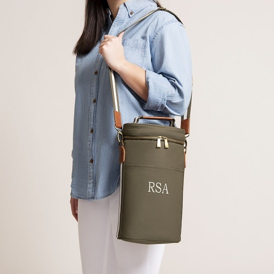 The Personalized Wine Cooler fits comfortably over your shoulder with an adjustable strap.