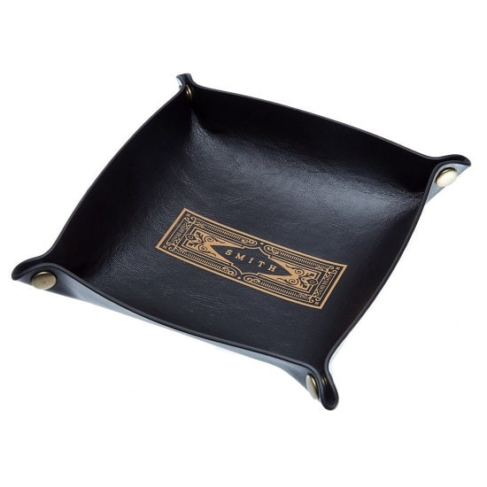 Black Leather Catch All Tray with Vintage Design
