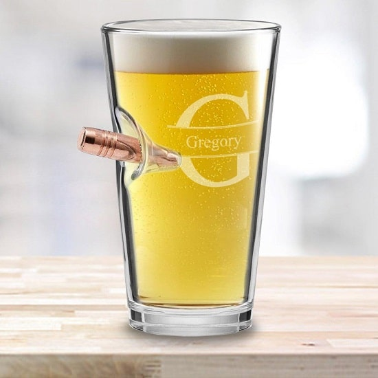 Bullet Pint Glass - Stamped Monogram