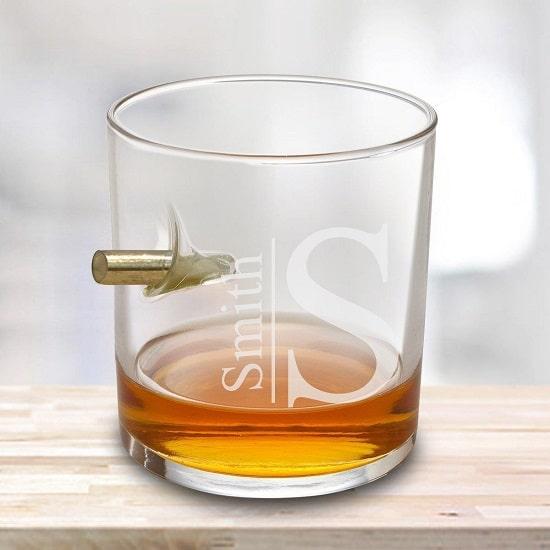 Bullet Whiskey Glass with Modern Monogram