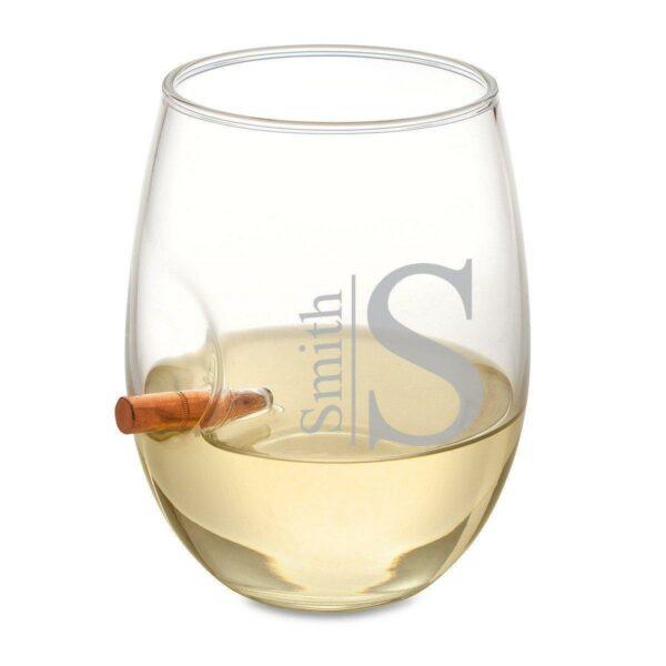 Bullet Wine Glass - Modern Monogram